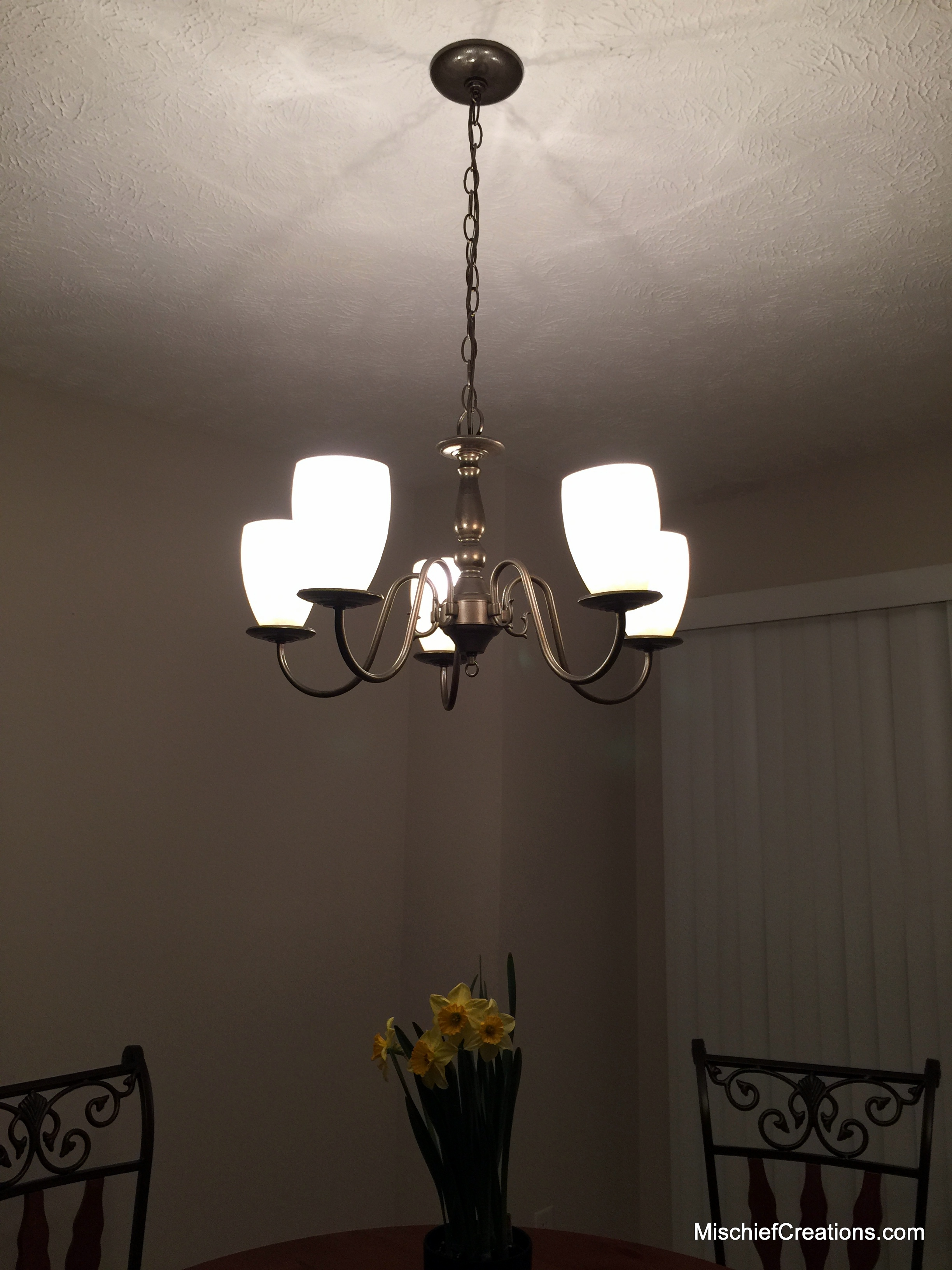 The ugly brass chandelier makeover diy lighted after spray paint brass chandelier makeover aloadofball Image collections